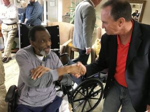 Chris Kennedy and Ed Perlmutter visit Westlake Care Community